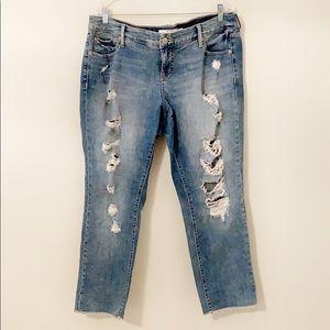 Torrid Boyfriend jeans ankle with frayed hem